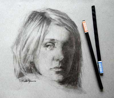 charcoal drawing of young girl using Nitram Charcoal by Sonia Reeder-Jones